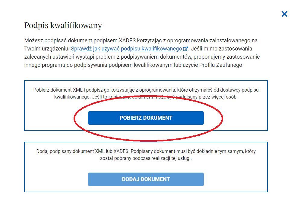 """Jak podpisać wniosek: Grafika pokazująca krok 2 Naciśnij przycisk """"Pobierz dokument"""", aby pobrać na swój komputer dokument, który ma zostać podpisany:"""