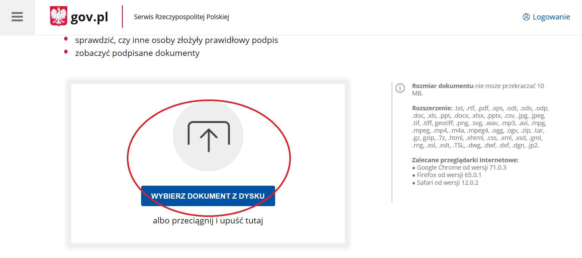 """Grafika: Jak podpisać wniosek - krok 3: Naciśnij przycisk """"wybierz dokument z dysku"""", aby dodać dokument, który ma zostać podpisany elektronicznie"""
