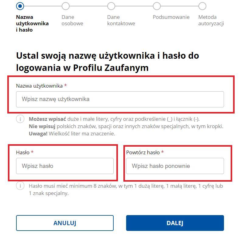 Jak założyć tymczasowy profil zaufany - Ustalanie nazwy użytkownika i hasła