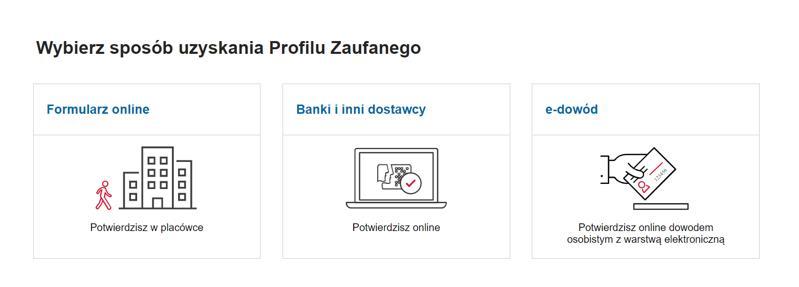 Jak założyć tymczasowy Profil Zaufany - ekran wyboru sposobu uzyskania profilu zaufanego