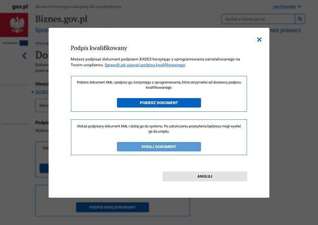 Jak złożyć podpis kwalifikowany na Biznes.gov.pl - krok 2