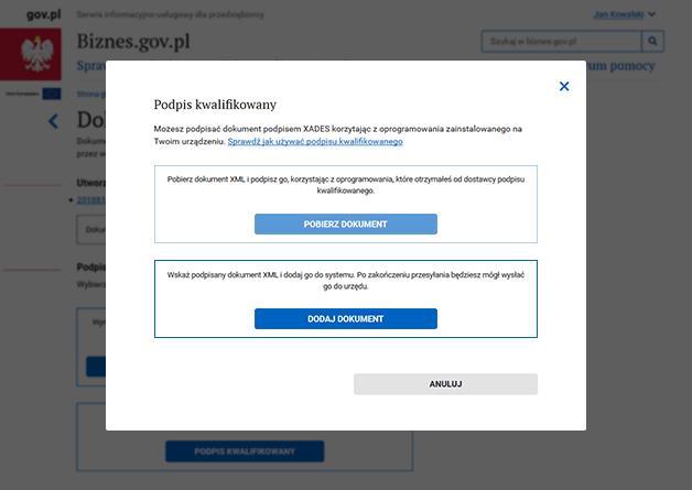 Jak złożyć podpis kwalifikowany na Biznes.gov.pl - krok 3