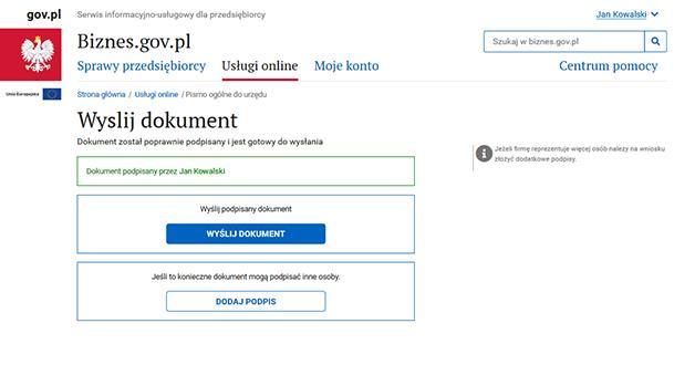 Jak złożyć podpis kwalifikowany na Biznes.gov.pl - krok 4