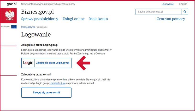 Logowanie e-dowodem do Biznes.gov.pl - krok 1