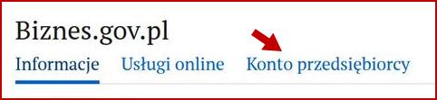 Kursor skierowany na frazę konto przedsiębiorcy na stronie głównej Biznes.gov.pl