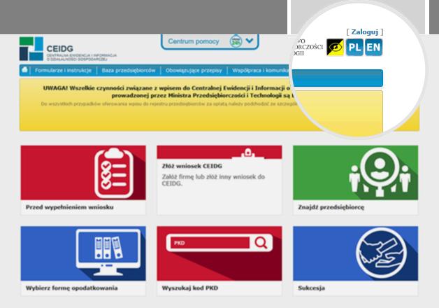 Zrzut ekranu strony ceidg z powiększeniem pola zaloguj