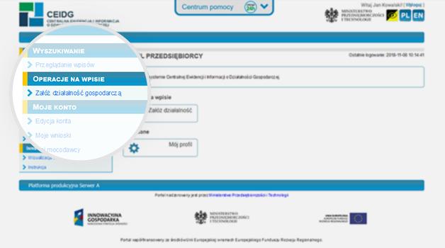 Zrzut ekranu strony ceidg z powiększeniem pola załóż działalność gospodarczą