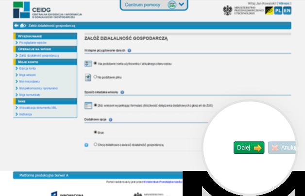 Zrzut ekranu strony ceidg z powiększeniem przycisku dalej