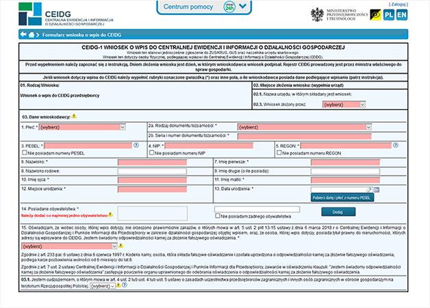 Zrzut ekranu strony ceidg z formularzem elektronicznym z obowiązkowymi polami w kolorze czerwonym