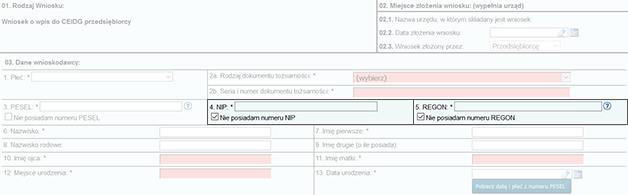 Zrzut ekranu strony ceidg z powiększeniem fragmentu formularza dotyczącego NIP