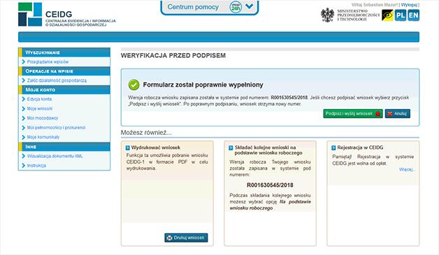 Zrzut ekranu strony ceidg z informacją o poprawnie złożonym wniosku